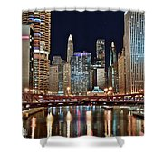 Iconic Night View Down The River Shower Curtain