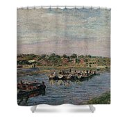 Idle Barges On The Loing Canal At Saint-mammes Shower Curtain