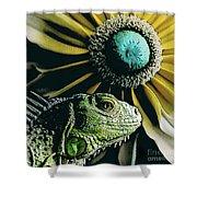 Iguana And Sunflower Shower Curtain