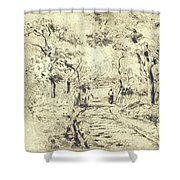 In The Fields At Ennery, 1875 Shower Curtain