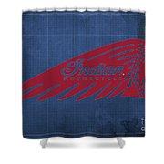 Indian Motorcycle Old Vintage Logo Blue Background Shower Curtain