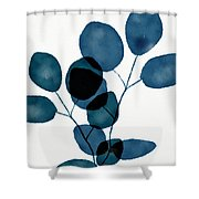 Indigo Eucalyptus 3- Art By Linda Woods Shower Curtain