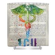 Intensive Care Unit Gift Idea With Caduceus Illustration 03 Shower Curtain