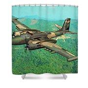 Invader Over Vietnam - Oil Shower Curtain