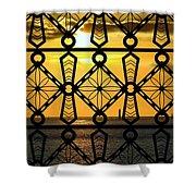 Iron Lattice Pattern St Malo Sunset Shower Curtain