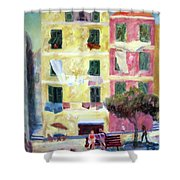 Italian Piazza With Laundry Shower Curtain