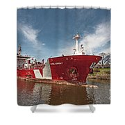 Iver Bright Tanker On The Manistee River Shower Curtain