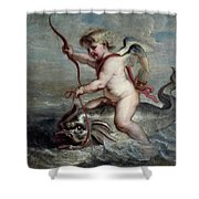 Jan Erasmus Quellinus / 'cupid On A Dolphin', Ca. 1630, Flemish School. Jan-erasmus Quellinus . Shower Curtain