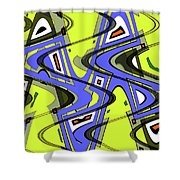 Janca Yellow And Blue Wave Abstract, Shower Curtain