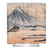 Japan Art And Mount Fuji - Suzuki Kiitsu In Color By Sawako Utsumi Shower Curtain