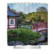 Japanese Garden #2 - Pagoda And Red Bridge Shower Curtain