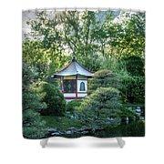 Japanese Garden #4 - Island Pagoda Vertical Shower Curtain