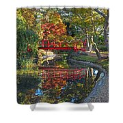 Japanese Garden Red Bridge Reflection Shower Curtain