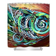 Jazzy Fish Trying For Busk At Dusk Shower Curtain