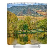 Jerome Reflected In Deadhorse Ranch Pond Shower Curtain