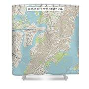Jersey City New Jersey Us City Street Map Shower Curtain