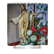 Jesus Christ With Flowers Shower Curtain