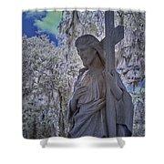 Jesus Graveyard Statue Shower Curtain
