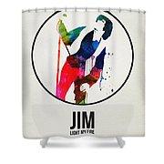 Jim Watercolor Poster Shower Curtain