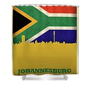 Johannesburg South Africa World City Flag Skyline Shower Curtain