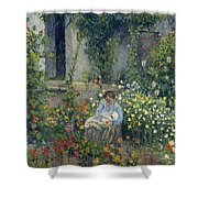 Julie And Ludovic-rodolphe Pissarro Among The Flowers, 1879 Shower Curtain