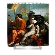 Jupiter  Mercury And Virtus Or Virgo  Shower Curtain
