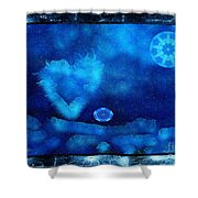 Kaleidoscope Moon For Children Gone Too Soon Number - 4 Cerulean Valentine  Shower Curtain