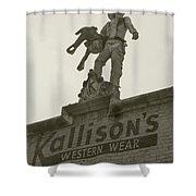 Kallison Cowboy Still Stands In San Antonio Shower Curtain