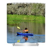 Kayaker In The Wild Shower Curtain