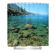 Kayaker's Bliss  Shower Curtain by Sean Sarsfield