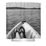Kayaking In Black And White Shower Curtain