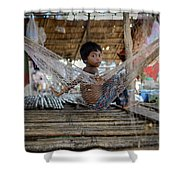 Keeping Cool In Cambodia Shower Curtain