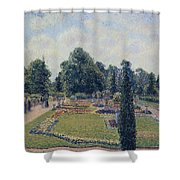 Kew Gardens - Path Between The Pond And The Palm House, 1892 Shower Curtain