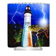 Key West Lightning Light House Shower Curtain