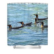 King Penguins Swimming Shower Curtain by Alan M Hunt