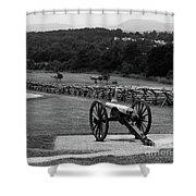 King William Artillery Marker In Black And White Gettysburg Shower Curtain