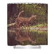 Kissing Deer Reflection Shower Curtain