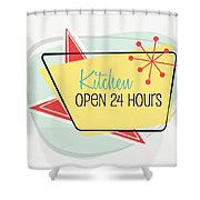 Kitchen Open 24 Hours- Art By Linda Woods Shower Curtain