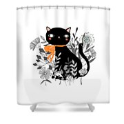 Kitty Kitty Sitting Pretty With Flowers All Around Shower Curtain