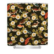 Koi And Lily Pads In Dark Water Shower Curtain