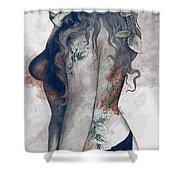 Koi No Yokan - Blue Rust - Erotic Drawing, Sexy Tattoo Girl In Thong Biting An Apple Shower Curtain