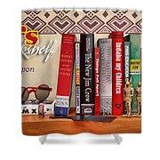 Kuji's Bookshelf Shower Curtain