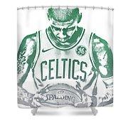 Kyrie Irving Boston Celtics Water Color Pixel Art 30 Shower Curtain