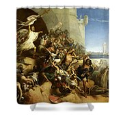 La Defense De L'ile De Rhodes Par Foulques De Villaret, 1309 Shower Curtain