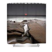 La Jolla Red Sun Shower Curtain