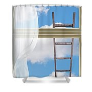 Ladder Against Window Pane Shower Curtain