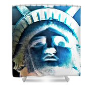 Lady Liberty In Negative Shower Curtain