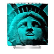 Lady Liberty In Turquoise Shower Curtain