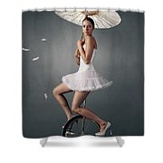 Lady On A Unicycle Shower Curtain