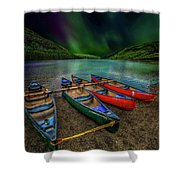 lake Geirionydd Canoes Shower Curtain